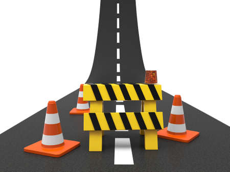 roadblock: Road with roadblock isolated on white background