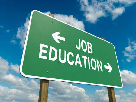 A road sign with job education words on sky background