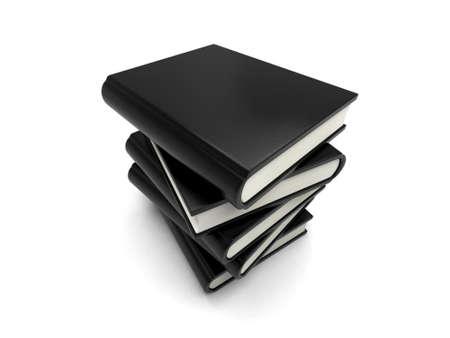 Some black books Isolated on White Background photo