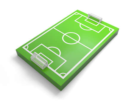 A 3d football field on white background Banco de Imagens