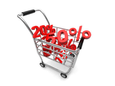 A shopping cart isolated on white background with a gold percent sign Stok Fotoğraf