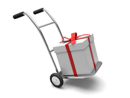 A hand truck with Gift box isolated on white background photo
