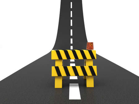 白い背景で隔離の障害と道路