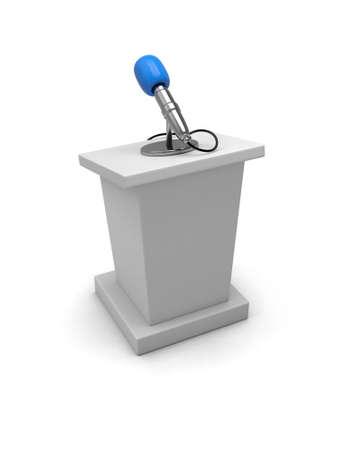 Podium en microfoon geïsoleerd op witte achtergrond