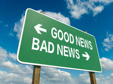 good news: A road sign with good news bad news words on sky background