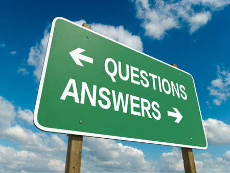 A road sign with questions answers words on sky background