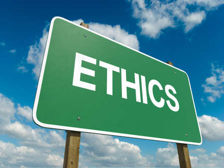 A road sign with ethics words on sky background photo