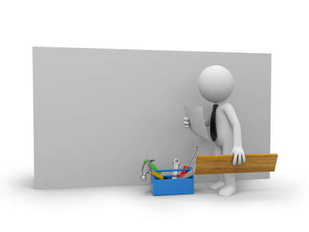 3d small repairman with a toolbox Isolated on white background photo