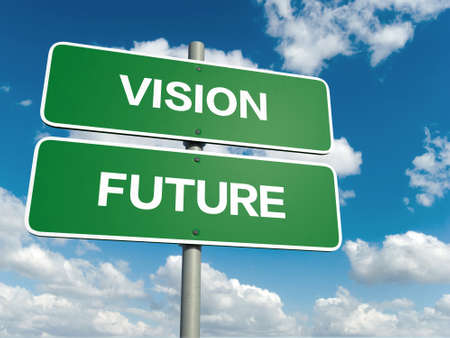 vision future: A road sign with vision future words on sky background Stock Photo
