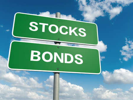 bonds: A road sign with bonds stocks words on sky background