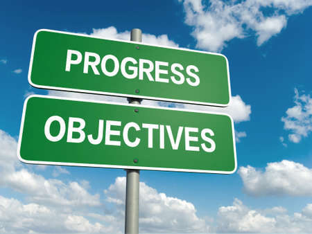 unbiased: A road sign with progress objectives words on sky background