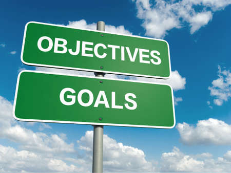 goal post: A road sign with objectives goals words on sky background Stock Photo