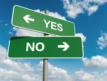A road sign with yes no words on sky background