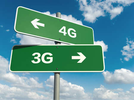 3g: A road sign with 4G 3G words on sky background Stock Photo