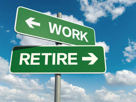 retire: A road sign with work retire words on sky background