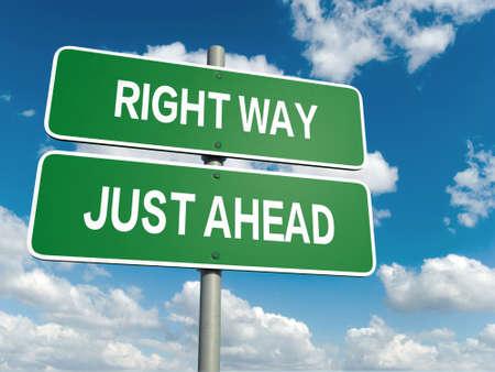 Un signe de route avec sens droit Wrong Way mots sur fond de ciel