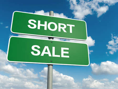 short sale: A road sign with short sale words on sky background