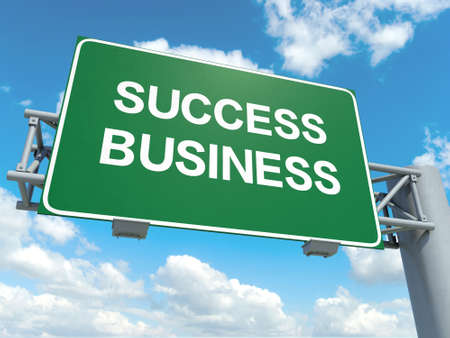 A road sign with business success words on sky background Stock Photo
