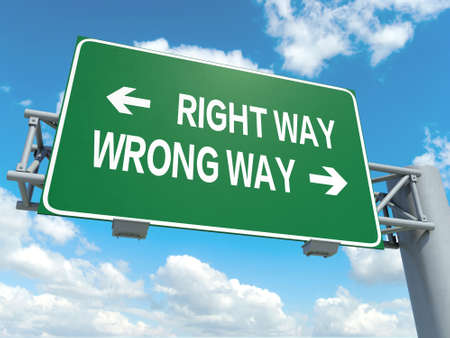 cross road: A road sign with right way wrong way words on sky background Stock Photo