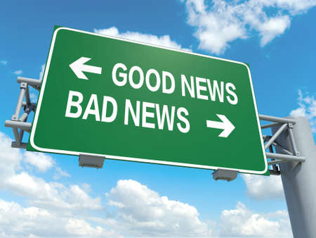 A road sign with good news bad news words on sky background photo