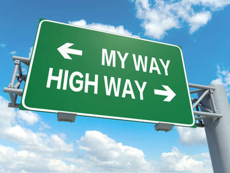 righteous: A road sign with my way high way words on sky background