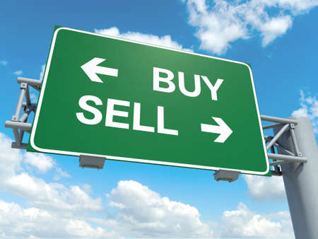 sell: A road sign with buy sell words on sky background Stock Photo