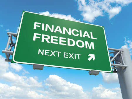 A road sign with financial freedom words on sky background photo
