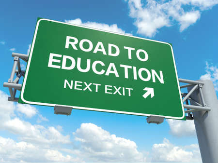 university choice: A road sign with road to education words on sky background