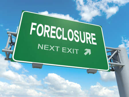 foreclosure: A road sign with foreclosure words on sky background Stock Photo