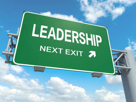 primacy: A road sign with leadership words on sky background
