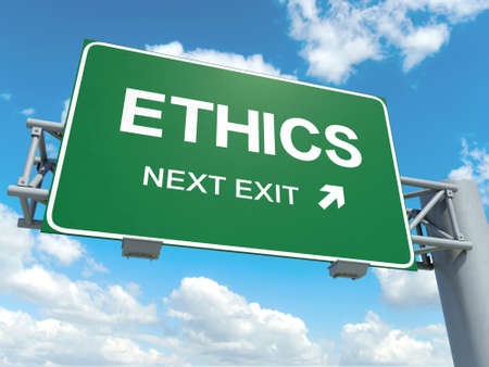 A road sign with ethics words on sky background Banque d'images