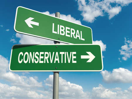 A road sign with liberal conservative words on sky background