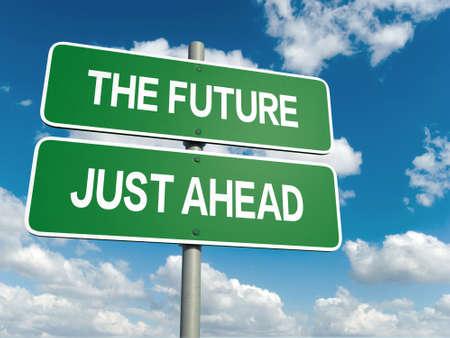 Un signe de la route avec des mots futures sur fond de ciel Banque d'images