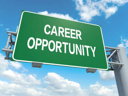 A road sign with career opportunity words on sky background photo