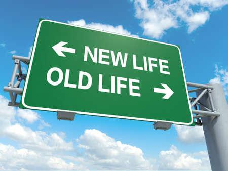 Un panneau routier avec la nouvelle vie d'anciens mots de vie sur fond de ciel Banque d'images - 30349840