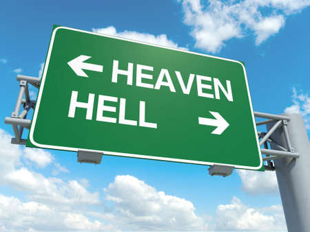 A road sign with heaven hell words on sky background photo