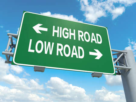 A road sign with high road low road words on sky background