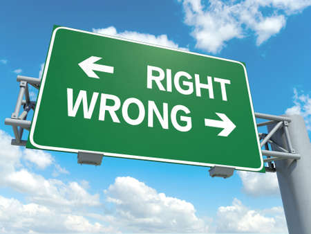 A road sign with right wrong words on sky background Stock Photo