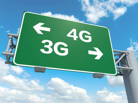 A road sign with 4G 3G words on sky background Stock Photo