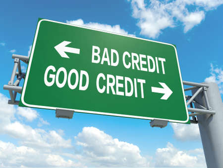 credit score: A road sign with bad credit good credit words on sky background Stock Photo