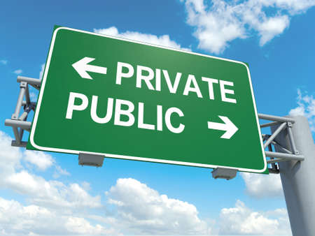 private or public: A road sign with private public words on sky background