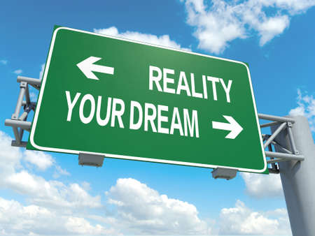 A road sign with reality dream words on sky background Stock Photo
