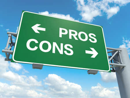 cons: A road sign with pros cons words on sky background Stock Photo