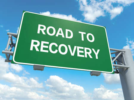A road sign with road to recovery words on sky background Stok Fotoğraf - 30350607