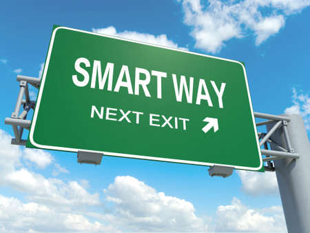 A road sign with smart way words on sky background