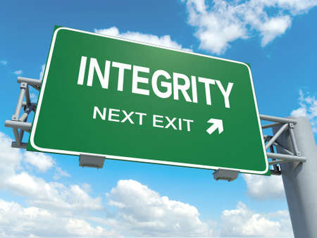 rectitude: A road sign with integrity words on sky background