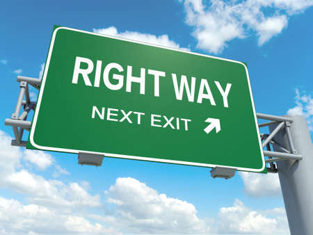 right way: A road sign with right way wrong way words on sky background Stock Photo