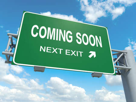 A road sign with coming soon words on sky background