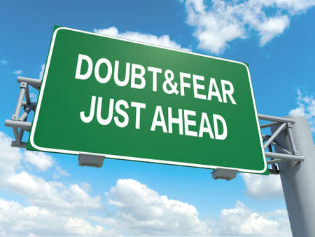 skepticism: A road sign with doubt fear words on sky background