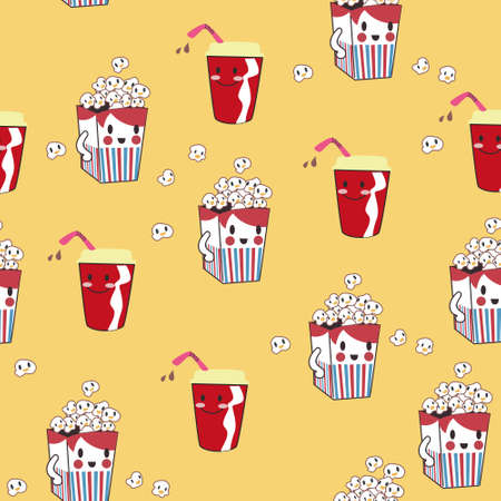 seamless pattern background with bag of popcorn in vector Illustration